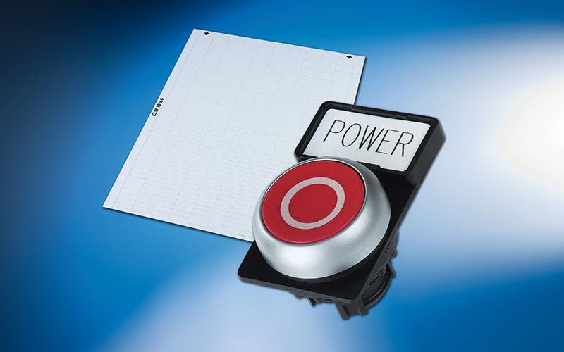 Etichete butoane Siemens, lampa de semnalizare. Etichetare cu plotter. Marcarea butoanelor se poate face si cu imprimanta cu transfer termic