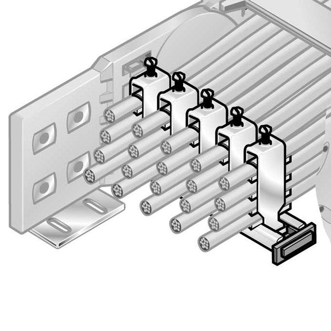 Fixare sigura a cablurilor in lanturile portcablu. fixarea poate fi etajata sau in linie. usor de asamblat. economisire costuri