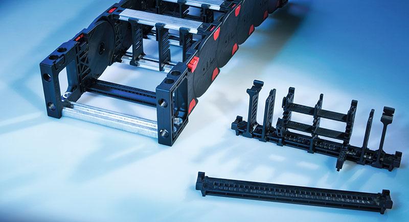 Rafturi separare cabluri, furtunuri si tuburi in lanturile portcablu energetice. Previn uzura prematura acestora