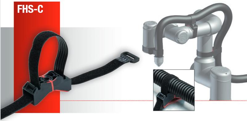 Suport FHS-C Murrplastik pentru roboti mici. Prindere mobila cu Velcro, se adapteaza dupa bratul robotului