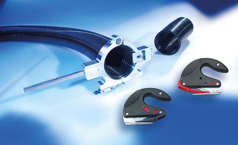 Taietorul de tub flexibil este fabricat din aluminiu si face ca ajustarea lungimii tuburilor flexibile de protectie Murrplastik usoara si in siguranta