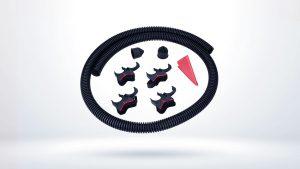 Rutare rapida si simpla a cablurilor se face utilizand produsele Murrplastik care include tubul flexibil despicat longitudinal si setul complet FHS-UHE