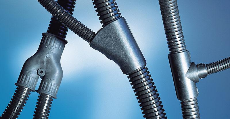 Distribuitor tub flexibil, tub gofrat, tub riflat, copex. Utilizate pentru cuplarea si distribuirea tuburilor de diferite diametre.