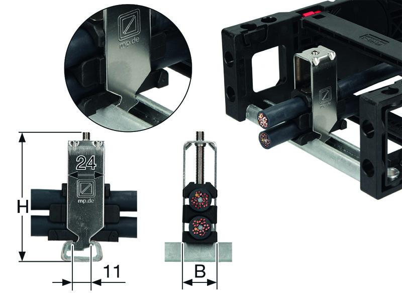 Elemente detensionare cabluri in lanturi portcablu energetice. Solutie economica, rapida si usor de montat