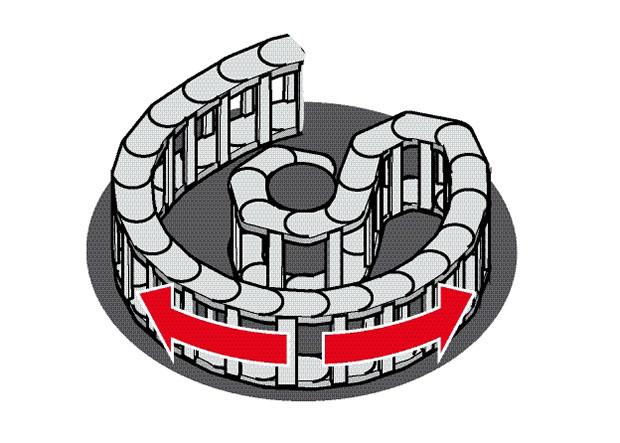 Lant portcablu cu aplicatie laterala cu raza inversa cu glisare pe suprafata plana forma circulara 90 grade. rezistente